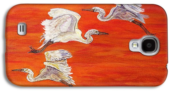 Abstract Digital Paintings Galaxy S4 Cases - Egrets In Flight Galaxy S4 Case by Ella Kaye Dickey