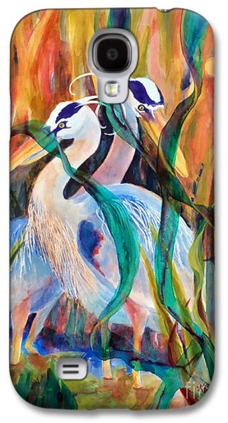 Weed Line Galaxy S4 Cases - Egrets in Red 2            Galaxy S4 Case by Kathy Braud