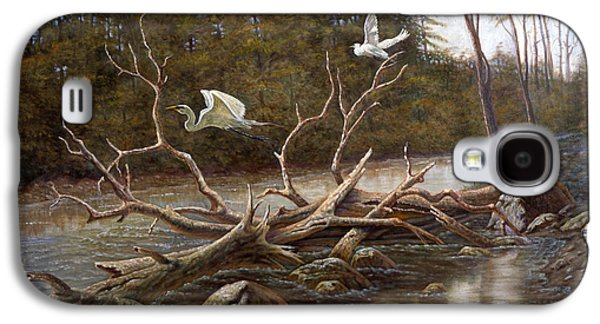 Waterscape Mixed Media Galaxy S4 Cases - Egrets Paradise Galaxy S4 Case by Gregory Perillo