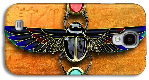 Beatles Galaxy S4 Cases - Egyptian Scarab Beetle Galaxy S4 Case by John Wills