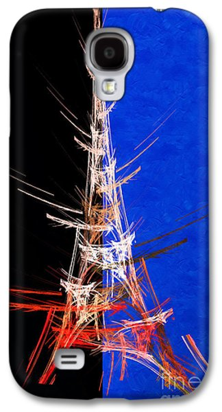 Abstract Digital Mixed Media Galaxy S4 Cases - Eiffel Tower In Red On Blue  Abstract  Galaxy S4 Case by Andee Design