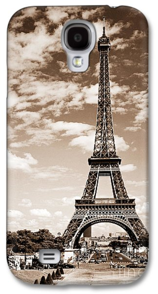 Landmarks Photographs Galaxy S4 Cases - Eiffel tower in sepia Galaxy S4 Case by Elena Elisseeva