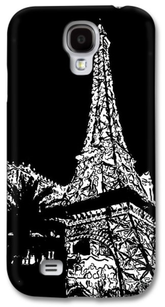 The Strip Galaxy S4 Cases - Eiffel Tower Paris Hotel Las Vegas - Pop Art - Black and White Galaxy S4 Case by Ian Monk
