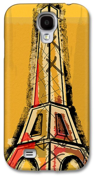 Eiffel Tower Yellow Black And Red Galaxy S4 Case by Robyn Saunders