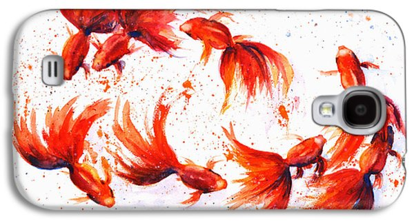 Golden Fish Paintings Galaxy S4 Cases - Eight Dancing Goldfish  Galaxy S4 Case by Zaira Dzhaubaeva