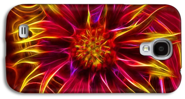 Lively Galaxy S4 Cases - Electric Firewheel Flower Artwork Galaxy S4 Case by Nikki Marie Smith