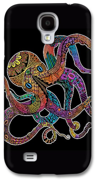 Trippy Drawings Galaxy S4 Cases - Electric Octopus on Black Galaxy S4 Case by Tammy Wetzel