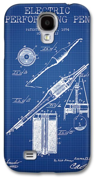 Pen Galaxy S4 Cases - Electric Perforating Pen Patent from 1894 - Blueprint Galaxy S4 Case by Aged Pixel