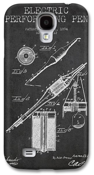 Pen Galaxy S4 Cases - Electric Perforating Pen Patent from 1894 - Charcoal Galaxy S4 Case by Aged Pixel