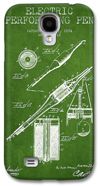 Pen Galaxy S4 Cases - Electric Perforating Pen Patent from 1894 - Green Galaxy S4 Case by Aged Pixel