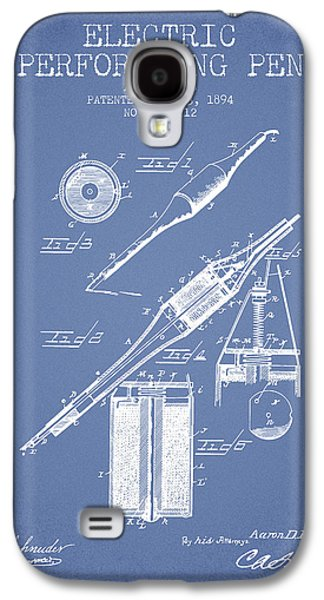Pen Galaxy S4 Cases - Electric Perforating Pen Patent from 1894 - Light Blue Galaxy S4 Case by Aged Pixel