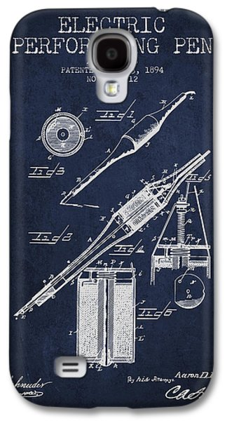 Pen Galaxy S4 Cases - Electric Perforating Pen Patent from 1894 - Navy Blue Galaxy S4 Case by Aged Pixel