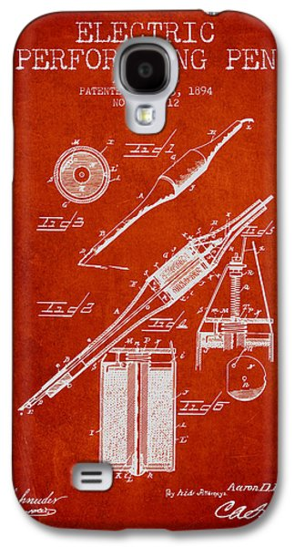 Pen Galaxy S4 Cases - Electric Perforating Pen Patent from 1894 - Red Galaxy S4 Case by Aged Pixel