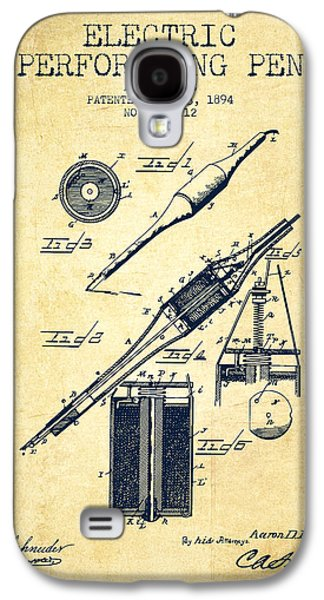 Pen Galaxy S4 Cases - Electric Perforating Pen Patent from 1894 - Vintage Galaxy S4 Case by Aged Pixel