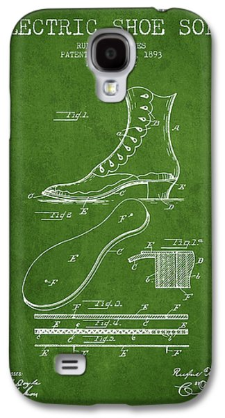 Shoe Digital Art Galaxy S4 Cases - Electric Shoe Sole Patent from 1893 - Green Galaxy S4 Case by Aged Pixel