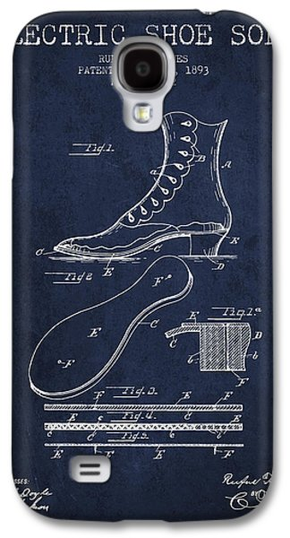 Shoe Digital Art Galaxy S4 Cases - Electric Shoe Sole Patent from 1893 - Navy Blue Galaxy S4 Case by Aged Pixel