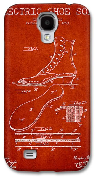 Shoe Digital Art Galaxy S4 Cases - Electric Shoe Sole Patent from 1893 - Red Galaxy S4 Case by Aged Pixel