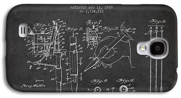 Tattoo Digital Art Galaxy S4 Cases - Electric Tattooing Device Patent From 1929 - Charcoal Galaxy S4 Case by Aged Pixel