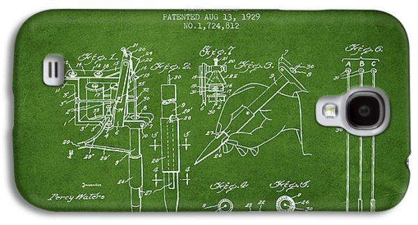 Tattoo Digital Art Galaxy S4 Cases - Electric Tattooing Device Patent From 1929 - Green Galaxy S4 Case by Aged Pixel