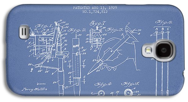 Tattoo Digital Art Galaxy S4 Cases - Electric Tattooing Device Patent From 1929 - Light Blue Galaxy S4 Case by Aged Pixel