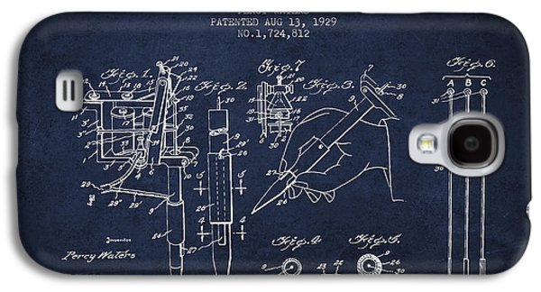 Tattoo Digital Art Galaxy S4 Cases - Electric Tattooing Device Patent From 1929 - Navy Blue Galaxy S4 Case by Aged Pixel