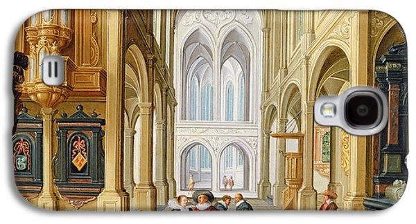 Worship Drawings Galaxy S4 Cases - Elegant Figures in a Gothic Church Galaxy S4 Case by Dirck Van Deelen