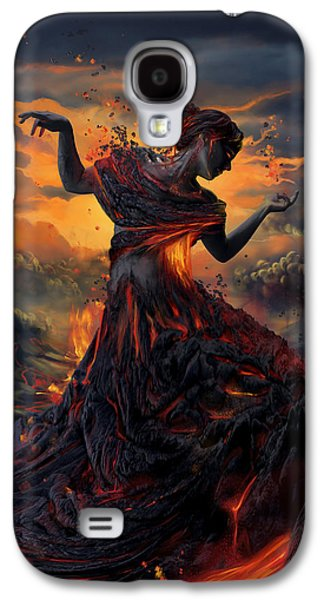 Modern Digital Art Galaxy S4 Cases - Elements - Fire Galaxy S4 Case by Cassiopeia Art