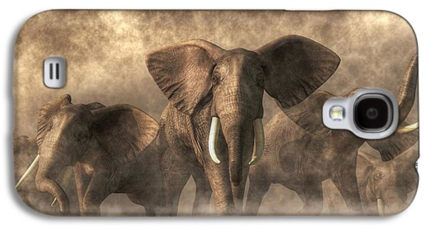 Stampede Digital Art Galaxy S4 Cases - Elephant Stampede Galaxy S4 Case by Daniel Eskridge