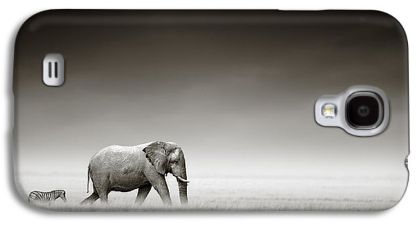 B Galaxy S4 Cases - Elephant with zebra Galaxy S4 Case by Johan Swanepoel