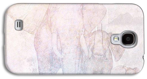 Concept Mixed Media Galaxy S4 Cases - Elephants - Sketch Galaxy S4 Case by John Edwards
