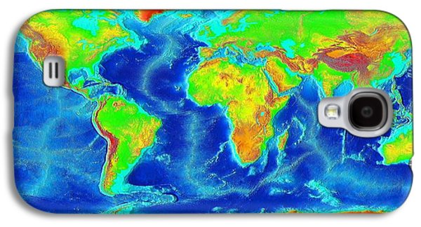 Elevation Map Of The World Galaxy S4 Case by Sebastian Musial