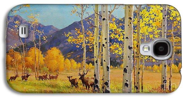 Elk Herd In Aspen Grove Galaxy S4 Case by Gary Kim