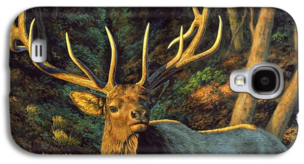 Wilderness Paintings Galaxy S4 Cases - Elk Painting - Autumn Majesty Galaxy S4 Case by Crista Forest
