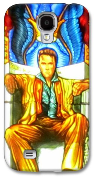 Music Glass Art Galaxy S4 Cases - Elvis Galaxy S4 Case by Crystal Loppie
