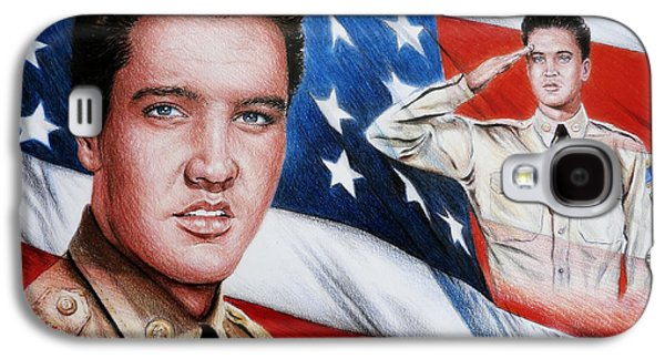 Power Drawings Galaxy S4 Cases - Elvis Patriot  Galaxy S4 Case by Andrew Read