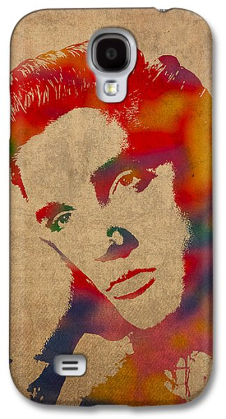 Elvis Presley Galaxy S4 Cases - Elvis Presley Watercolor Portrait on Worn Distressed Canvas Galaxy S4 Case by Design Turnpike
