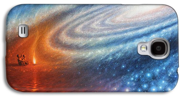 Milky Way Paintings Galaxy S4 Cases - Embers of Exploration and Enlightenment Galaxy S4 Case by Lucy West