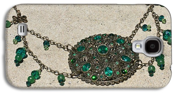 Handmade Jewelry Jewelry Galaxy S4 Cases - Emerald Vintage New England Glass Works Brooch Necklace 3632 Galaxy S4 Case by Teresa Mucha