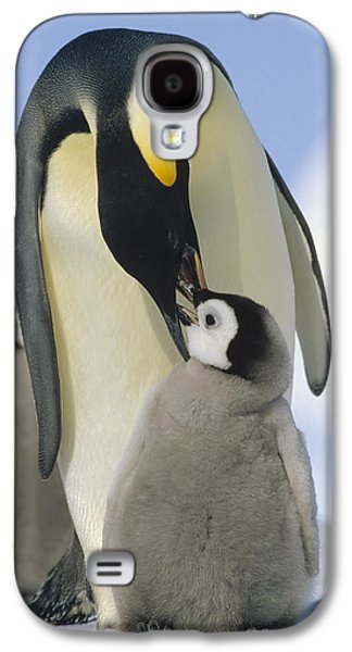 Three Chicks Galaxy S4 Cases - Emperor Penguin Parent Feeding Chick Galaxy S4 Case by Konrad Wothe