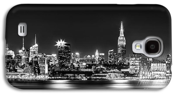 Midtown Galaxy S4 Cases - Empire State At Night - BW Galaxy S4 Case by Az Jackson