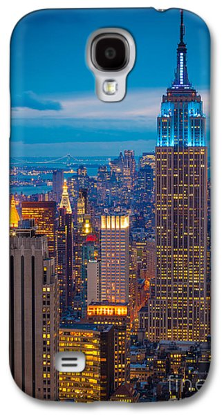 Light Photographs Galaxy S4 Cases - Empire State Blue Night Galaxy S4 Case by Inge Johnsson