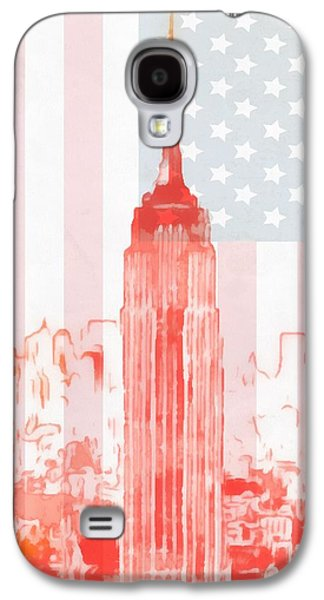 Stars And Stripes Mixed Media Galaxy S4 Cases - Empire State Building On American Flag Galaxy S4 Case by Dan Sproul