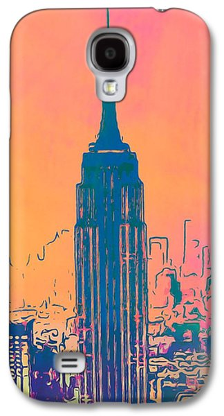 Skylines Mixed Media Galaxy S4 Cases - Empire State Building Pop Art Galaxy S4 Case by Dan Sproul