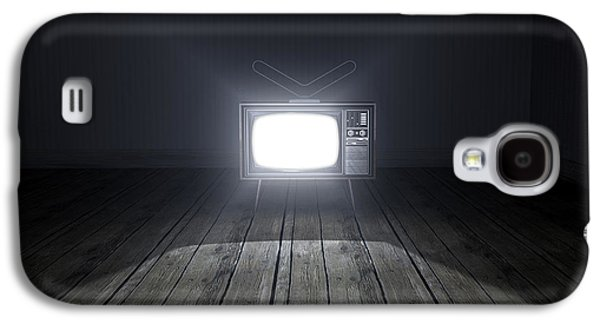 Flooring Galaxy S4 Cases - Empty Room With Illuminated Television Galaxy S4 Case by Allan Swart