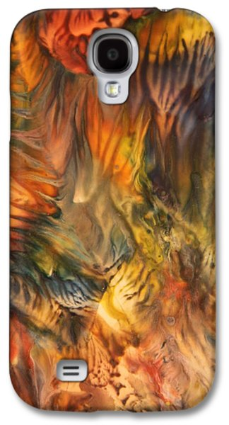 Angel Mermaids Ocean Galaxy S4 Cases - Encaustic Art Image 13 Galaxy S4 Case by Samira Butt