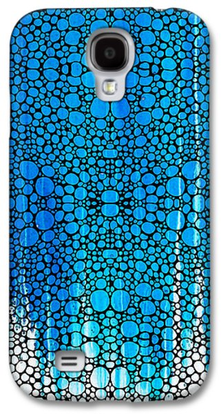 Stone Digital Galaxy S4 Cases - Enchanted - Blue and White Abstract Stone Rockd Art By Sharon Cummings Galaxy S4 Case by Sharon Cummings