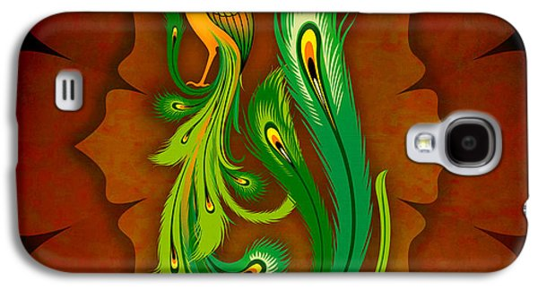 Greeting Cards Pyrography Galaxy S4 Cases - Enchanting Peacock 1 Galaxy S4 Case by Bedros Awak
