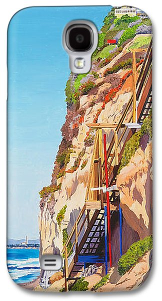 Staircase Paintings Galaxy S4 Cases - Encinitas Beach Cliffs Galaxy S4 Case by Mary Helmreich