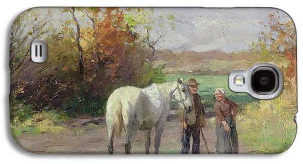 Hamburg Galaxy S4 Cases - Encounter On The Way To The Field, 1897 Oil On Panel Galaxy S4 Case by Thomas Ludwig Herbst