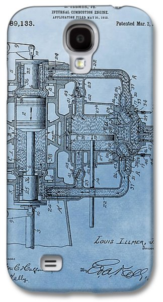 Mechanics Mixed Media Galaxy S4 Cases - Engine Patent Blue Galaxy S4 Case by Dan Sproul